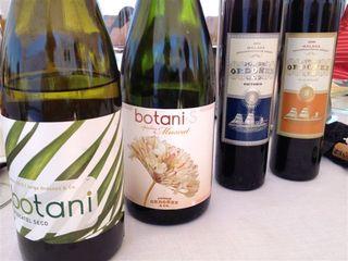 Colección de vinos de la familia Ordoñez. En primer término el botani seco, luego el espumoso y detrás El Victoria nº 2 y Victoria nº 3