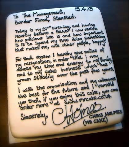 Carta de despedida en pastel