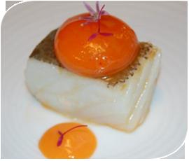 Bacalao, salmorejo y yenma de huevo con pimiento asado de Kisko García, Córdoba