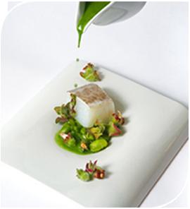 Bacalao a la brasa con anémonas de tierra y jugo de algas, de Rodrigo de la Calle, Aranjuez