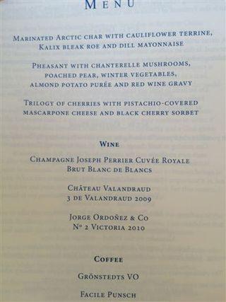 Menú de la cena de los premios Nobel 2012, en la que el vino Victoria nº 2 acompañó a los postres