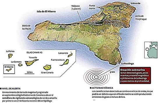La erupción en la Isla de El Hierro. La erupción submarina se había producido a cinco kilómetros de distancia de la costa y a 900 metros de profundidad. En: Gráficos de 'El País'