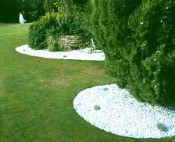 Las palmeras y los cipreses del lugar cobran protagonismo al enfocarse, como si fueran cuadros con grandes marcos de gravilla blanca