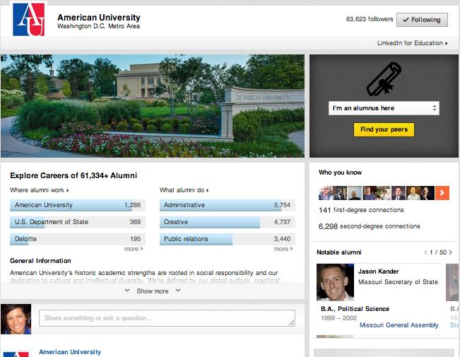 American University Linkedin University page