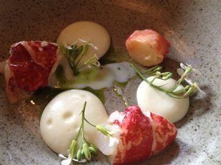 Restaurante In De Wulf. El cocinero Kobe Desrramaults se desmarca de las corrientes conceptuales y estéticas flamencas. No así en este plato dispuesto en forma de círculo en el que alternan los tropezones de langosta con  una espuma de tubérculos a la mostaza y flores del entorno