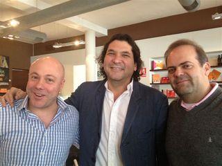 Gastón Acurio con los cocineros colombianos Jorge Rausch y Harry Sasson en Tanta, Lima