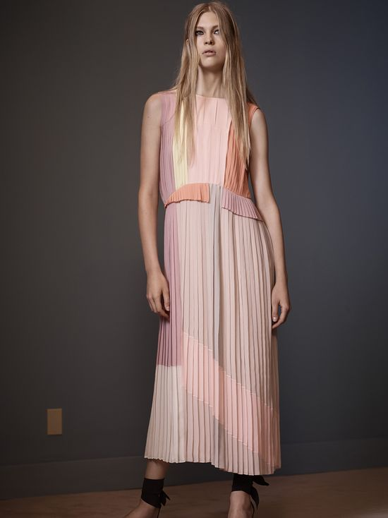 22 VVB SS14 Colour Block Pleated Midi