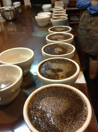Aspecto de la mesa de cata en Café Bisetti, Lima