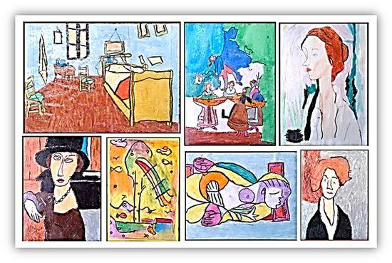 El mural del fondo, pletórico de láminas de Van Gogh, Modigliani, Klee, Goya, Picasso… los alumnos, nuestros pequeños pintores, continúan con su tarea, investigando, construyendo, creando…