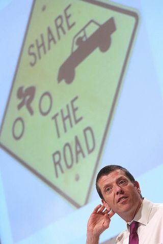 Dave Horton durante su intervención en VeloCity Viena. Foto cedida por VeloCity