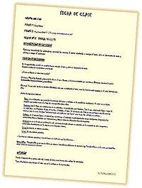 Ficha de preparación y evaluación de la clase por parte de los estudiantes