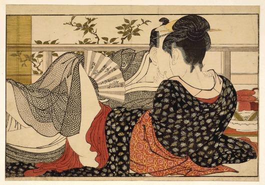 Pareja amándose en la habitación de la casa del te utamaro 1806