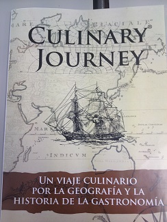 Catálogo que refleja su último trabajo sobre cocina histórica. Culinary Journey un viaje culinario por la geografía y la historia de la gastronomía