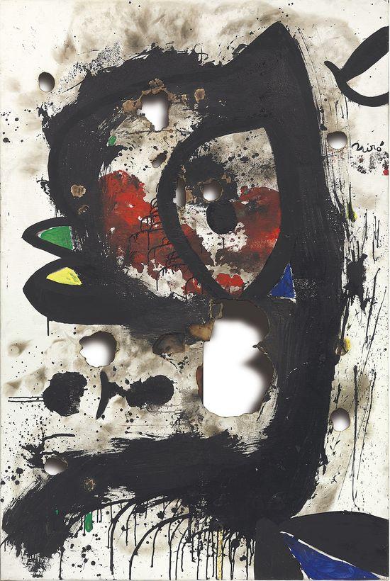 Joan Miró Toile brulée 3 (Burnt Canvas 3), acrylic on burnt canvas, executed 4-31 December 1973 (estimate £1.2-1.8 million)
