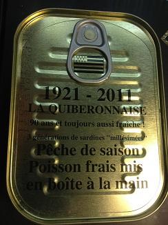 Texto grabado en uno de los envases de la Quiberonaise, una marca con más de 90 años de existencia en Francia
