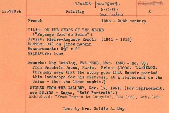 Renoir's Paysage Bord du Seine stolen record 1951 Baltimore Museum of Art