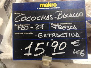 Cocochas de bacalao en Makro