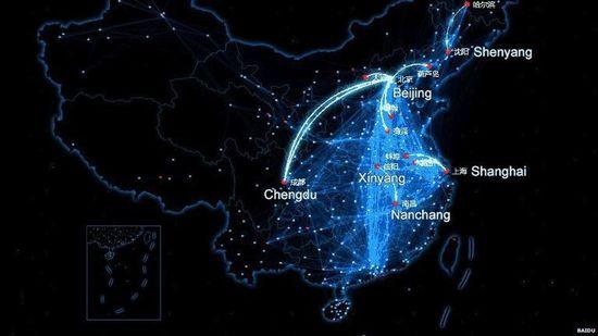 El mapa de Baidu con la visualización de los viajes de los usuarios de este servicio durante el Año Nuevo chino en enero de 2014. (Baidu)