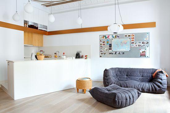 La sala de estar conectada con la cocina. Esta es la inspiración.