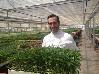 Mario Sandoval muestra unos brotes de hortalizas en el huerto Escolar