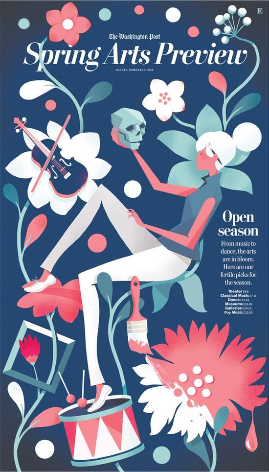 Cover illustration for the Washington Post Spring Arts Preview