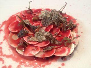 Lluvia roja de flores de hibiscus, segundo paso a modo de evolución del lienzo 7, Pata Negra untuoso y pegajoso