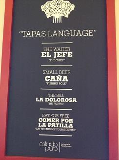 Divertido lenguaje de las tapas