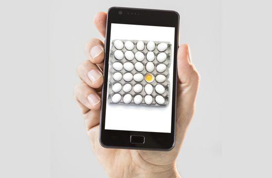 Huevos en el móvil