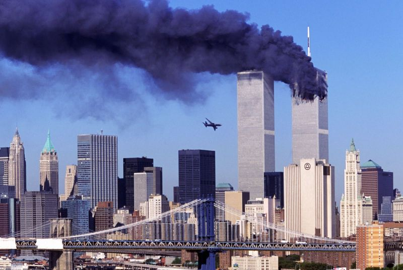 Just before the second airplane crashes to the World Trade Center, New York, 11 Sept 2001 2
