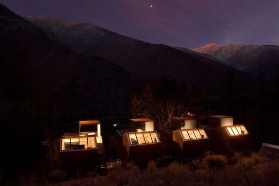 Cabañas del hotel Elqui Domos, al norte de Chile