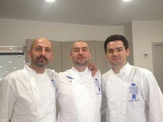 El trío de profesores franceses más representativo de Le Cordon Bleu Madrid.. miembros del jurado. De izquierda a derecha Yan Barreaud. Erwan Poudoulec y Nicolás Serrano