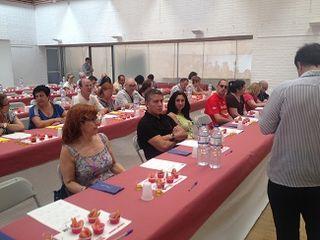 Aspecto del aula durante la cata popular de tomates