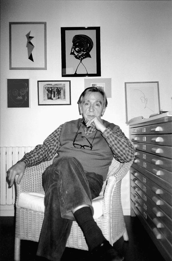 Alfaro al seu estudi de Godella, 1997 (Foto Joan Garí)