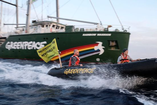 "A banner on the inflatable reads ""Prospeccions No, Renovables Sí (Exploration No, Renewables Yes).  PHOTO CREDIT Pedro Armestre  Greenpeace (3)"