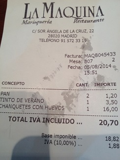 Factura del restaurante La Máquina, en Madrid