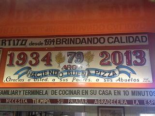 Rótulo de El Cuartito, en Buenos Aires