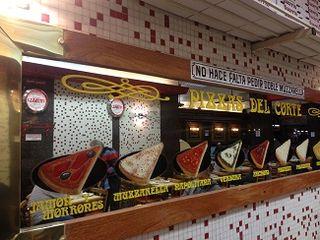 Uno de los frontales interirores de la pizzeria Guerrin en Buenos aires