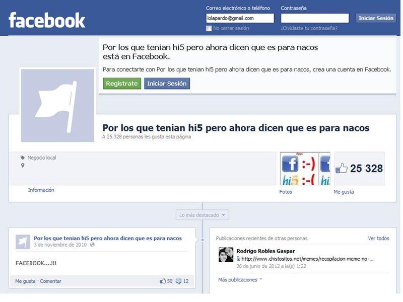 Hi5 es para nacos en facebook