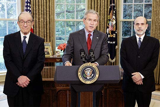 Greenspan, Bush y Paulson.