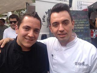 Los cocineros Daniel Ovadía y Edgar Núñez en el encuentro de food trucks