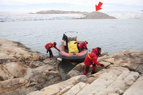Perdida hielo en Qalegalit 3 (flecha)