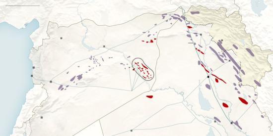 En rojo, pozos petrolíferos controlados por el EI / Mapa: NY Times