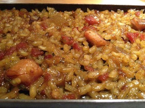 Espléndido aspecto del arroz a la llauna, a la plancha o a la caja