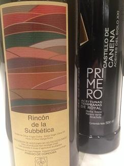 Botellas de Rincón de la subbética y aceite royal Primero de Castillo de Canena
