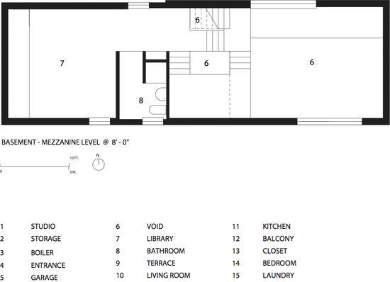Zoka Zola Pfanner House basement-mezzanine level