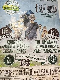 Cartel anunciador de la convocatoria del pueblo de Riaza (Segovia), barbacoas y música country que en 2015 tendrá lugar el 10 y 11 de julio. Un festival en el que Benayas actúa de asesor.