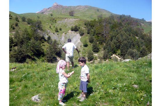 Dos niños y un adulto pasean por el Valle de Hecho, en el Pirineo aragonés - Carmen Guri