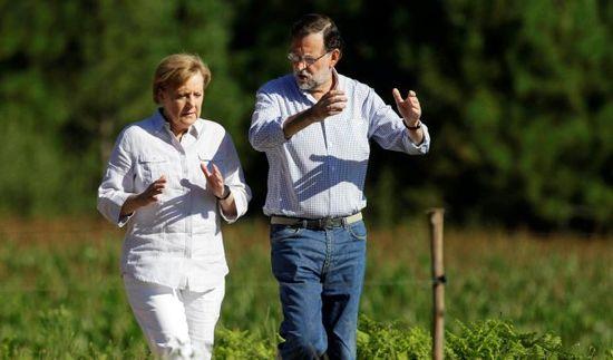 La passejada de Merkel i Rajoy