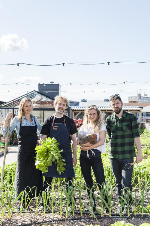 De izquierda a derecha  Mette Helbaek y Flemming Hansen, cocineros y fundadores del restaurante Stedsans Cleansimplelocal.  A su lado Livia Haaland y Kristian Skaarup, agricultores de la azotea y fundadores de OsterGRO