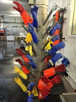 No es un montaje artístico sino el perchero de los guantes de trabajo de los empleados de la fábrica